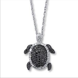 Black diamond & sterling silver turtle necklace
